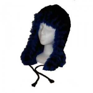 Black and Blue Beaver Fur Helmet Hat