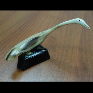 Small Muskox Horn Crane Carving