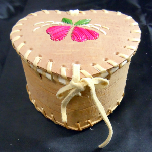 Medium Sized Heart Shaped Birch Basket with Pink Flowers