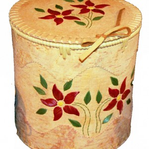Large Round Floral Birch Bark Basket