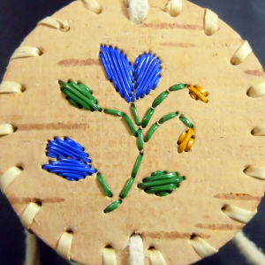 Small Round Birch Basket with Blue Petal Flowers