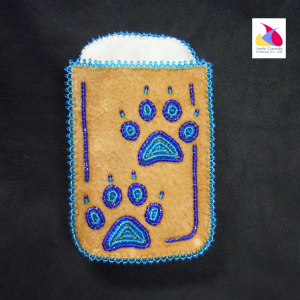 Moose hide Beaded Phone Holder