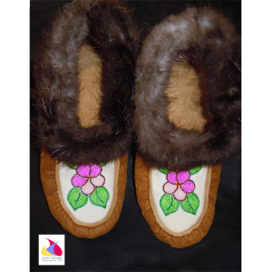 Adult Pink Beaded Moccasins with Beaver Fur Trim