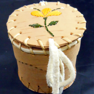 Small birch bark basket with 3 yellow petal quill design
