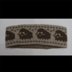 Genuine Muskox Qiviut Headband with Muskox Design