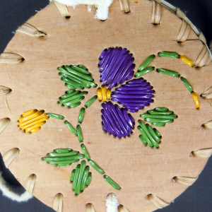 Quilled birch bark basket with purple quill design