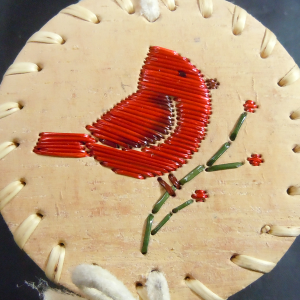 Tiny birch basket with red bird quilled design
