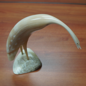 Large Muskox Horn Carving of a Crane