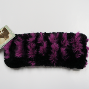 Classic Black Beaver Fur Headband with Pink Rabbit Stripes