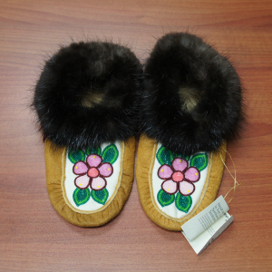 Moosehide Moccasins with Light and Dark Pink Flower Beaded Design