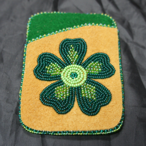 Moose Hide Card Holder – Green Flower Beaded Design