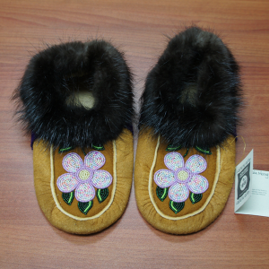 Moosehide Moccasins with Pink and Yellow Flower Beaded Design