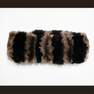 Classic Natural Brown with Black Stripes Sheared Beaver Headband
