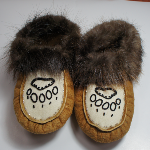 Women's Size 3 Moosehide Moccasins with Bear Paw Print Beaded Design