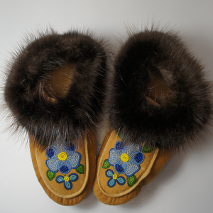 Adult Sized Moosehide Moccasins with Beaver Fur Trim Blue Flower Design