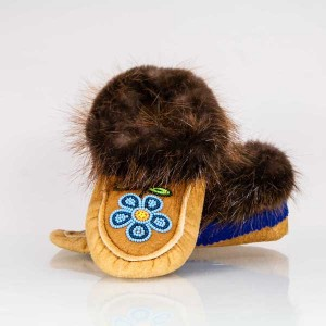 Children's Size 12 Moccasins with Beaded Flower Design