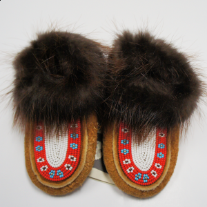 Children's Moosehide Moccasins with Red and White Beaded Design