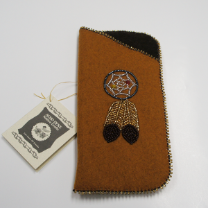 Moose Hide Glasses Case – Beaded Dream Catcher Design