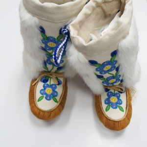 Moosehide Mukluks with Rabbit Trim and Bead Design