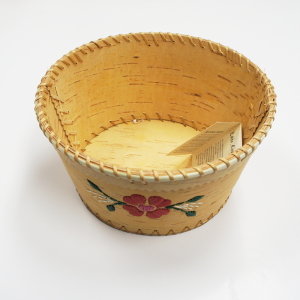 Birchbark Fruit Basket with Red Porcupine Quill Flower Design