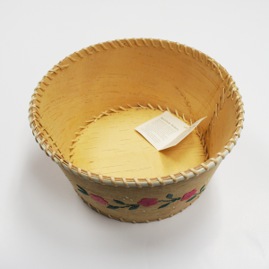 Round Birchbark Fruit Basket with Porcupine Quill Design