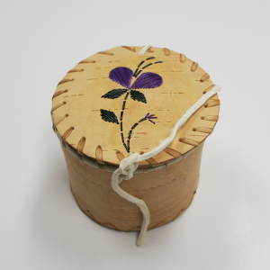 Souvenir Birchbark Basket with Purple Flower Porcupine Quill Design