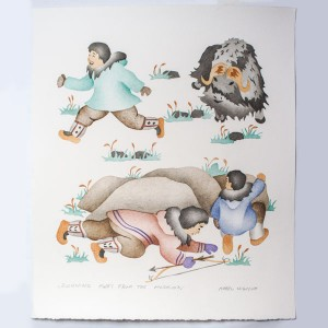"""Running Away From The Muskox"" Inuit Print"