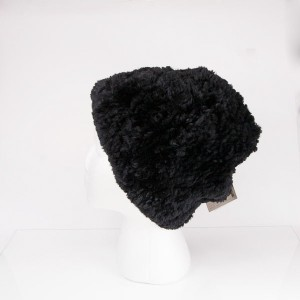Sheared Knit Beaver Fur Hat – Black