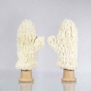Classic Sheared Beaver Fur Mittens – White