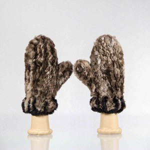 Sheared Knit Beaver Fur Mittens – Brown with Black Blanket Stitch