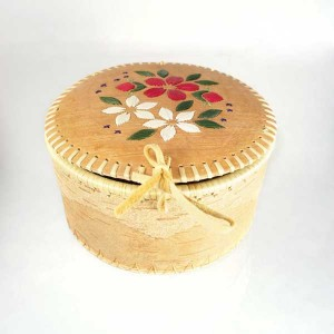 Round Birch Bark Basket – Detailed Floral Quillwork