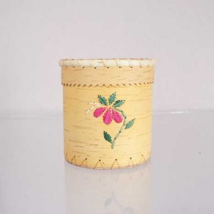 Birch Bark Basket Brush Holder – Pink Quillwork