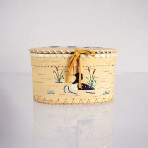 Oval Birch Bark Basket – Loon Design